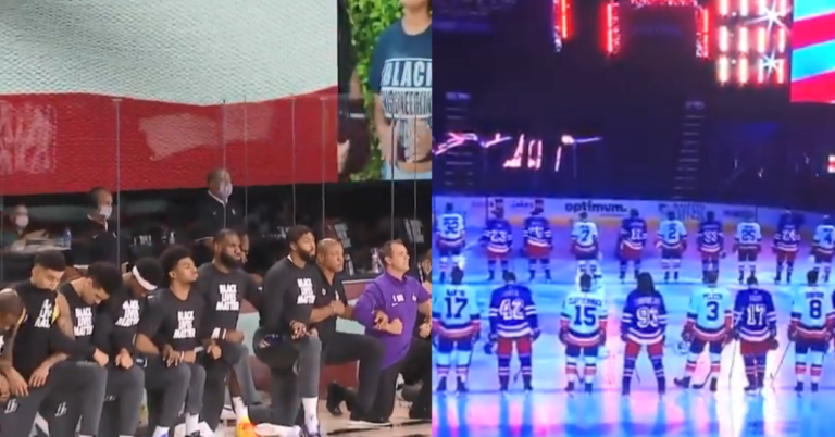 Every NBA Player Takes Knee, Every NHL Player Stood Up During National Anthem Last Night