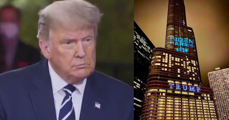 "Activists Target Trump Tower Chicago With 'Bat Light,' Project Biden's Logo: ""An eyesore no more"""